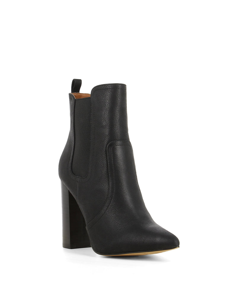 A black leather high heel ankle boot that features elastic gussets, a 9.5cm block heel and a pointed toe by Diavolina.