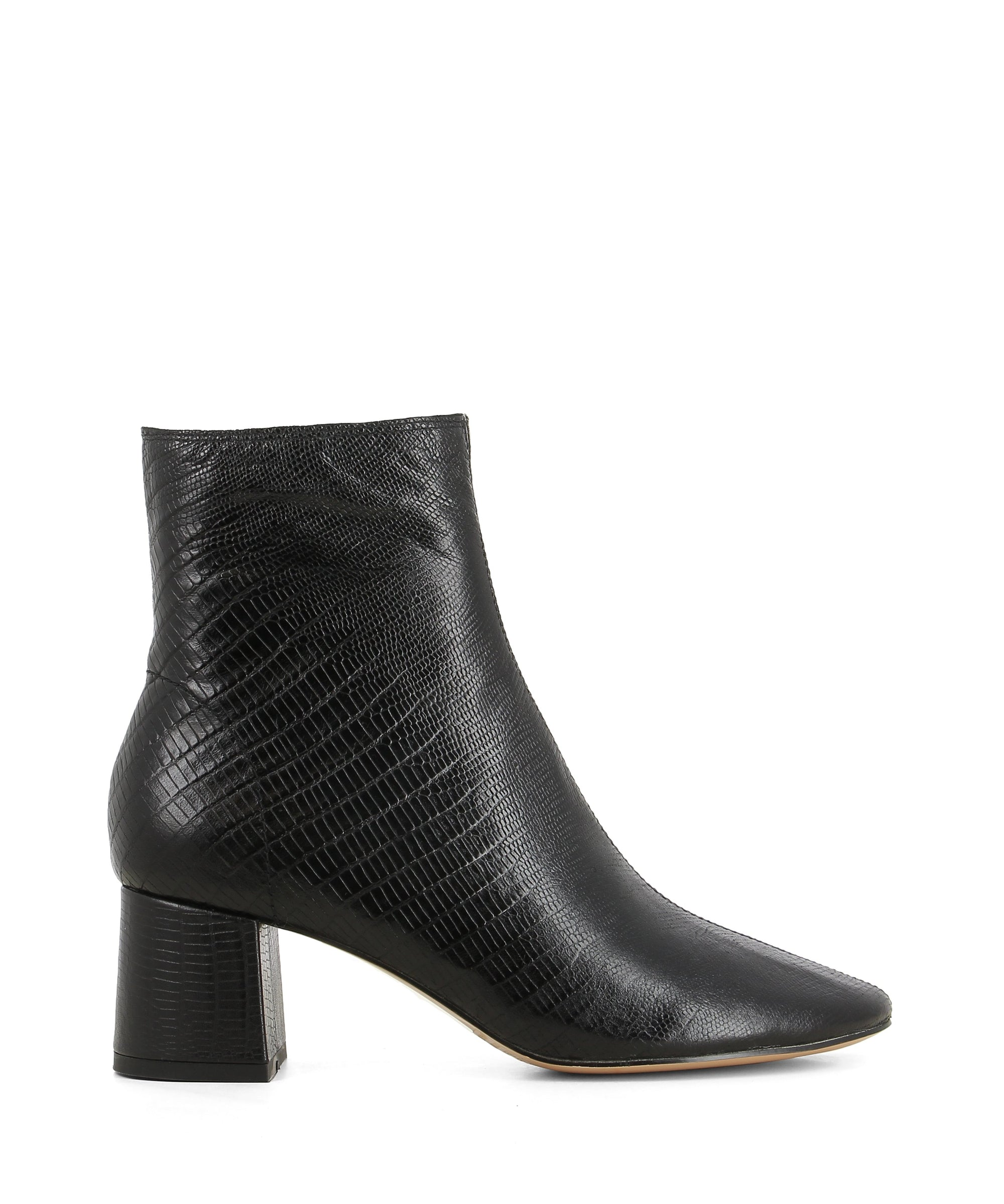 Black leather ankle boots that has inner zipper fastening and features lizard texture to the upper, a low 5 cm block heel and a round toe by 2 Baia Vista.