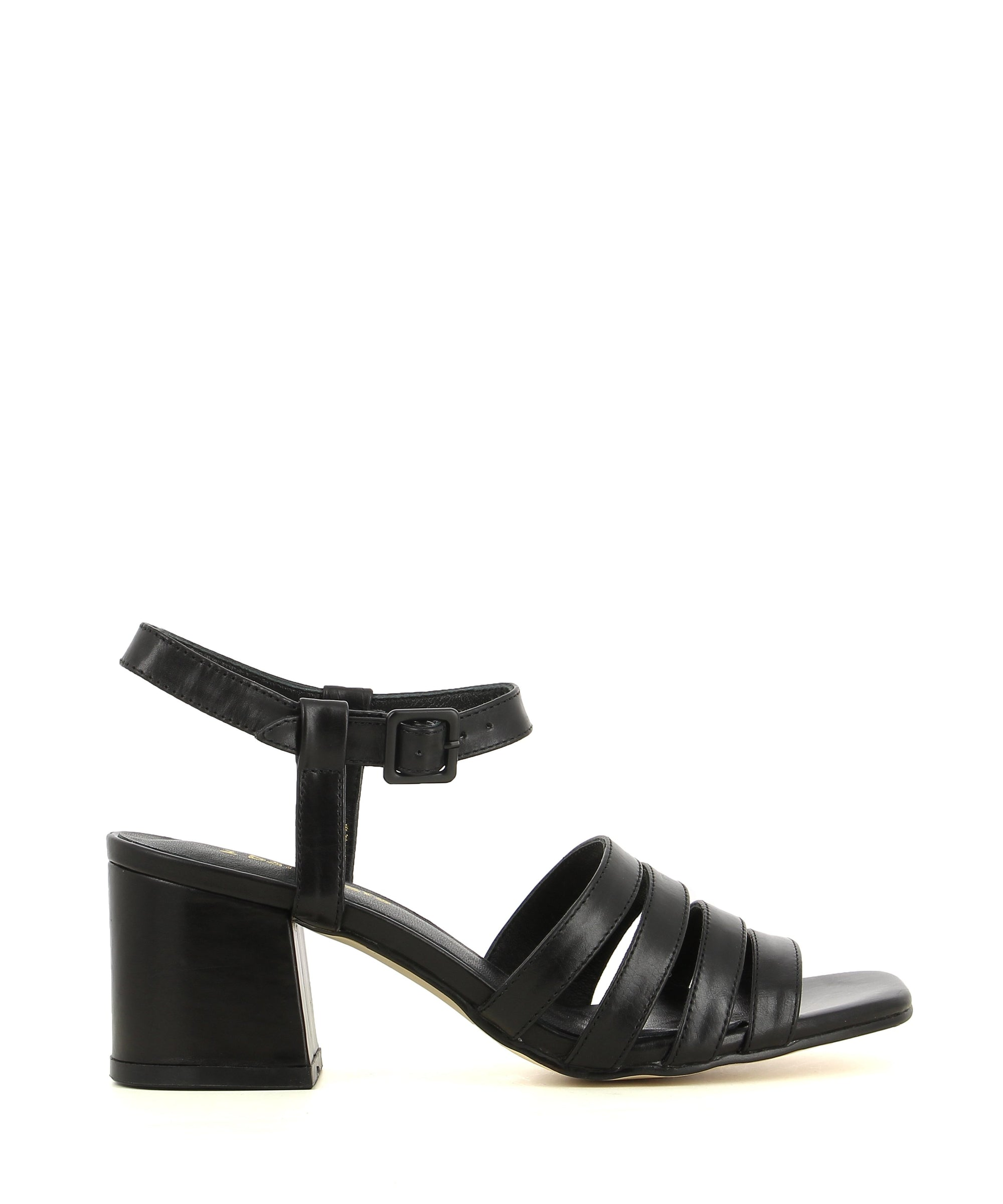A black leather sandal that has an ankle buckle fastening, a 6.5cm block heel, 4 thin leather straps over the toe and a open square toe by 2 Baia Vista.