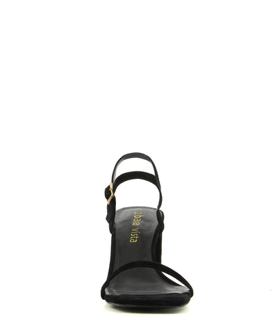 A black suede strappy sandal by 2 Baia Vista. The 'Ronnie' has a gold buckle fastening and features a block heel and a square toe.