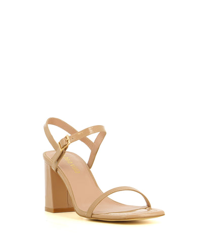 A chic and simple nude patent leather strappy sandal by 2 Baia Vista. The 'Ronnie' has a gold buckle fastening and features a block heel and a square toe.