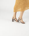 A chic snake print leather strappy sandal by 2 Baia Vista. The 'Ronnie' has a gold buckle fastening and features a block heel and a square toe.