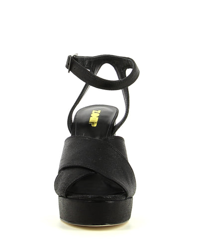 Black Leather Platform Sandal featuring an ankle strap with a silver buckle fastening, and a round open toe. Made by ZOMP.