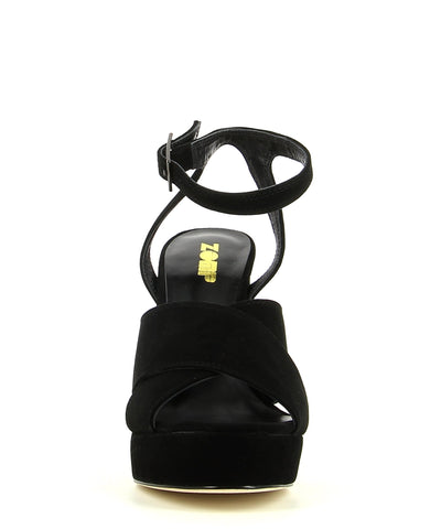 Black Suede Leather Platform Sandal featuring an ankle strap with a buckle fastening, and a round open toe. Made by ZOMP.