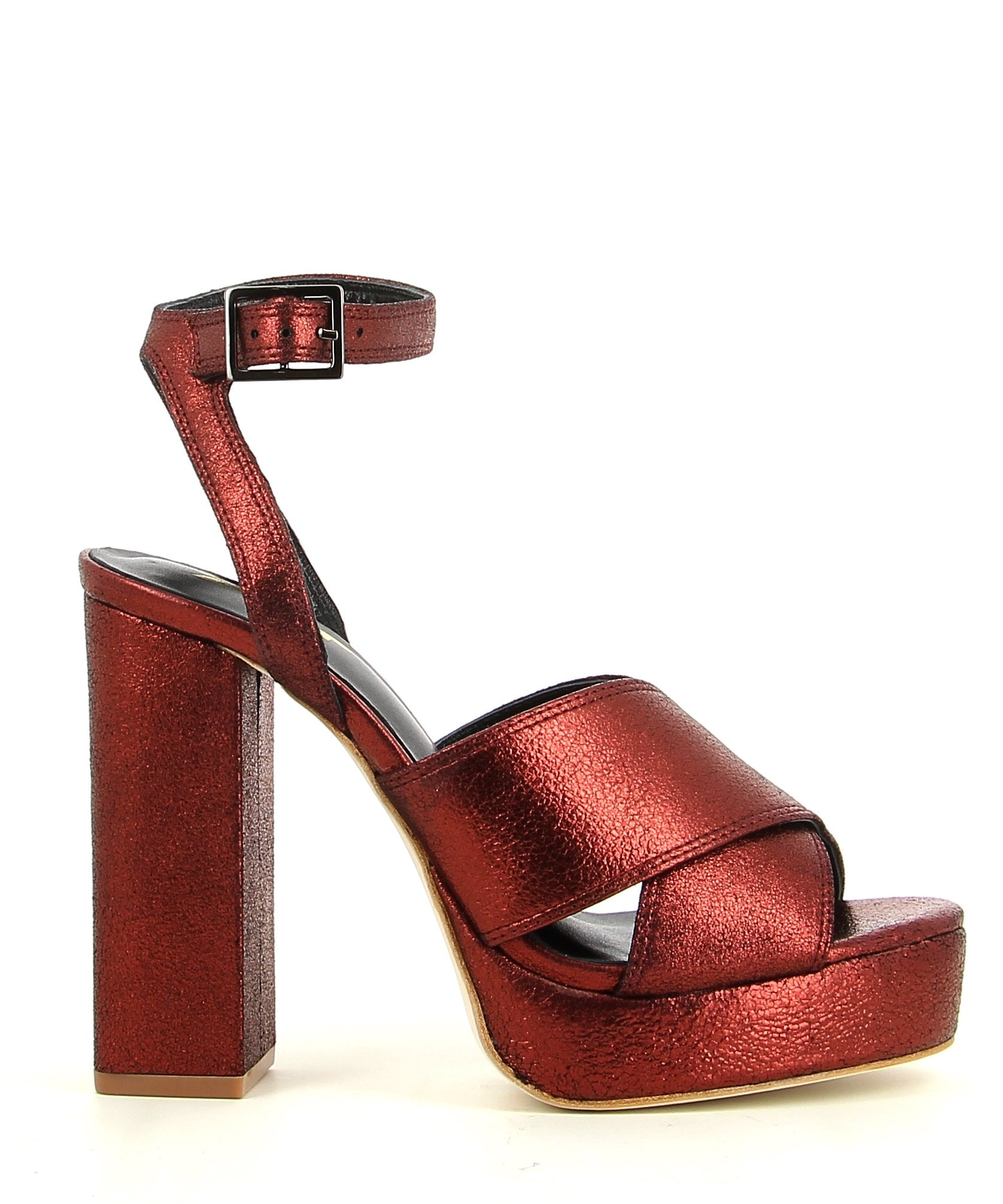 Metallic Red Dust Leather Platform Sandal featuring an ankle strap with a buckle fastening, and a round open toe. Made by ZOMP.