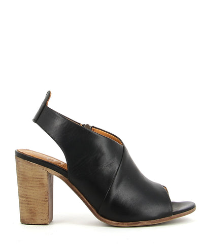 Black Leather Heeled Sandals featuring a 9cm wood look heel and and an open toe - made by Django & Juliette. This style runs true to size.