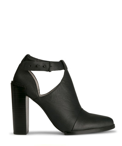 A black leather ankle boot  by Senso. The 'Sienna2' has prong fastening and features an ankle cut out, a block heel and a soft pointed toe.