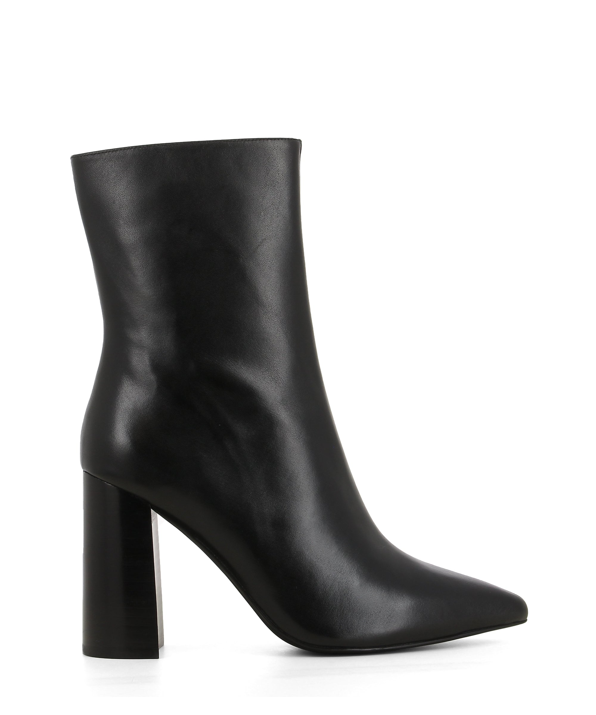 Black leather high heel ankle boot that has a zipper fastening and features a high 9cm block heel and a pointed toe by Jeffrey Campbell.