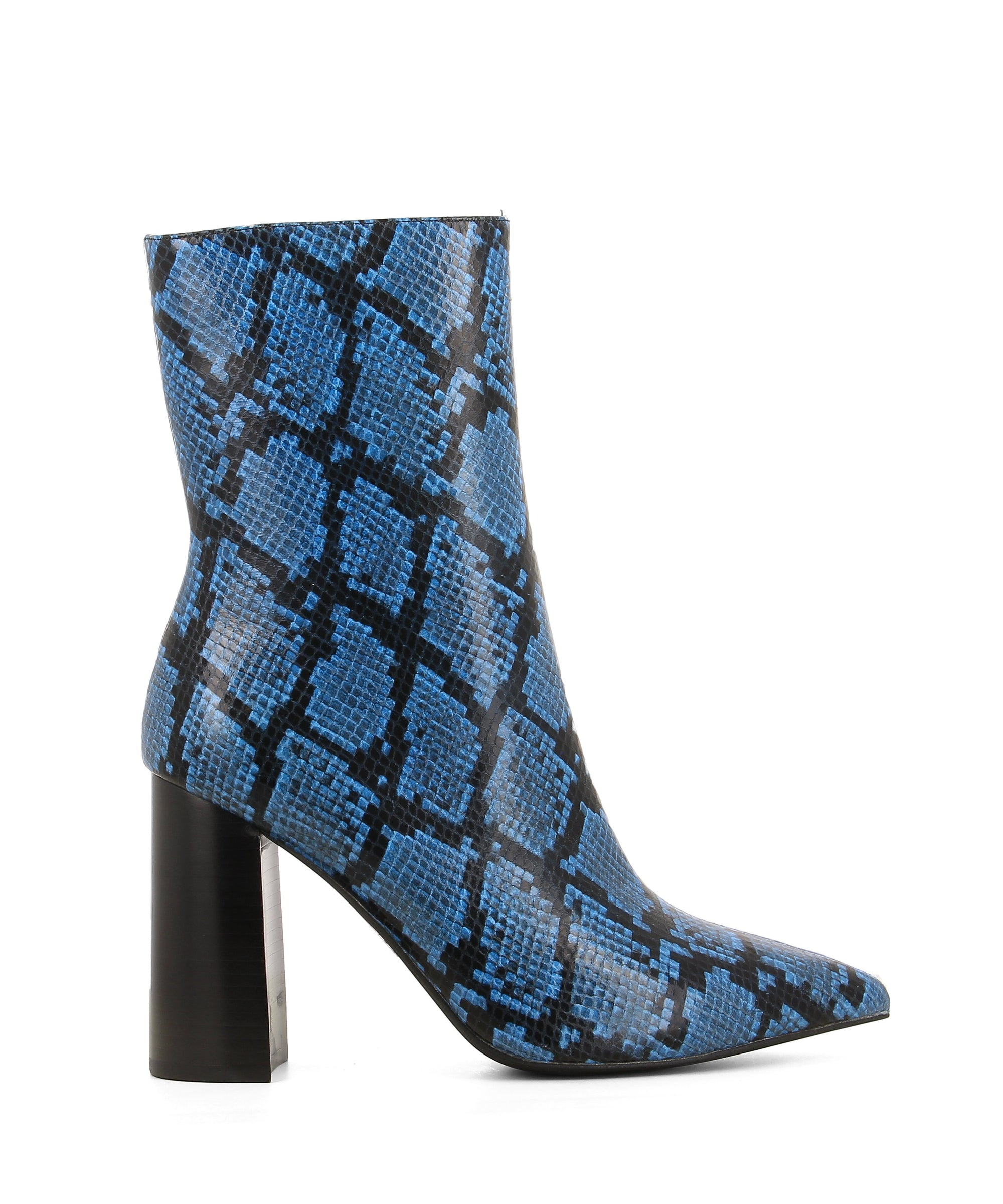 A blue and black snake skin high heel boot that features a 9cm block heel and a pointed toe by Jeffrey Campbell. This style runs true to size.