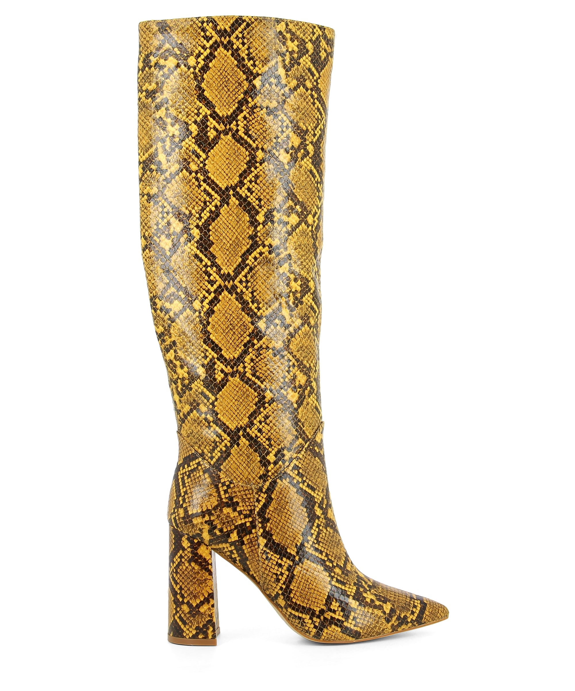 Yellow snake skin knee high boots that feature a 9.5cm block heel, zipper fastening and a pointed toe by Jeffrey Campbell.
