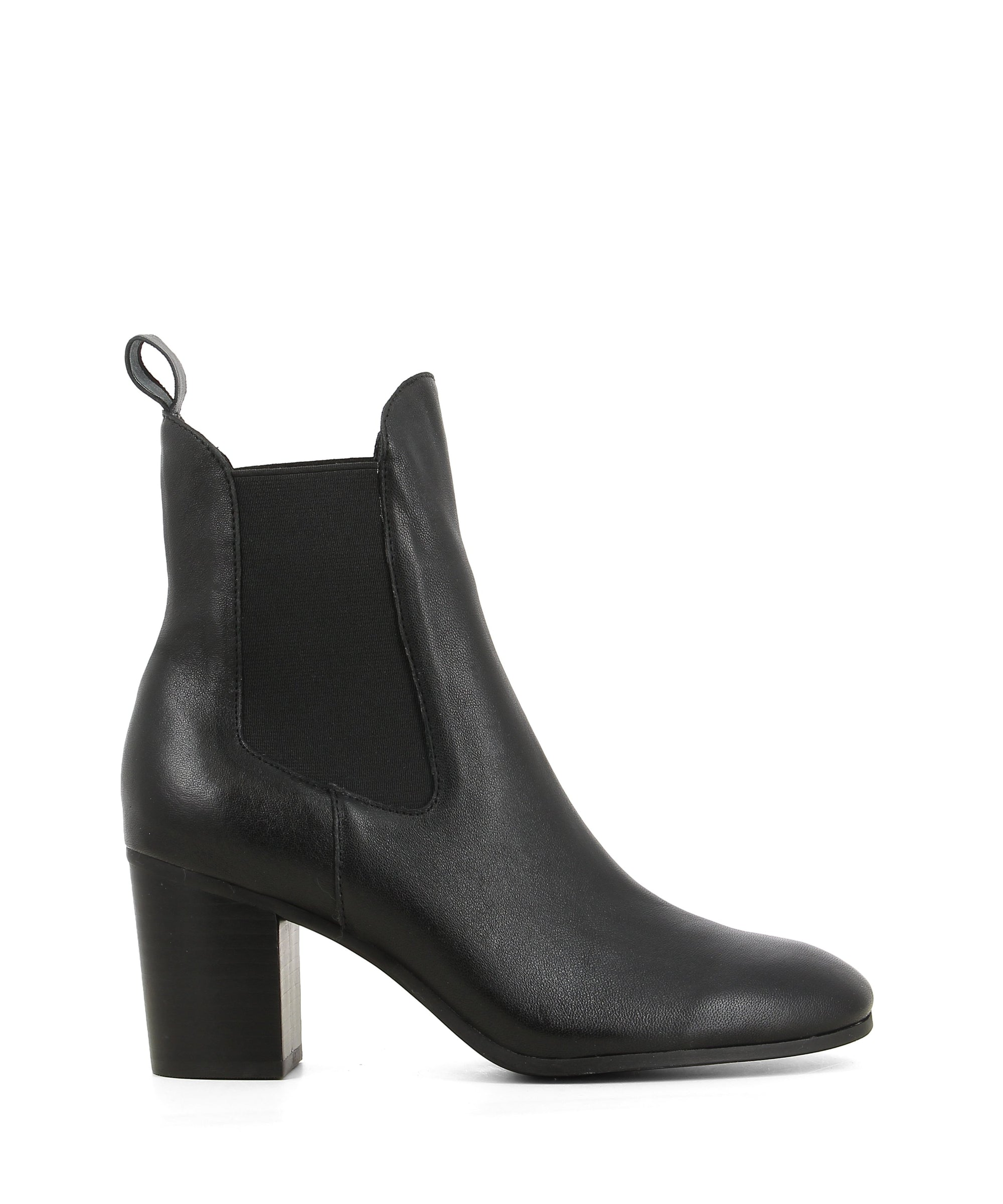 A black leather heeled Chealsea boot that features elastic side gussets, a 7cm block heel and a soft square toe by Django & Juliette. This style runs true to size.