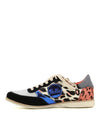 Colourful lace up sneakers featuring a mixed pattern upper of leopard print, pink and metallic blue panels and a round toe by Rollie.