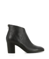 A black leather ankle boot that has zipper closure on the back of the heel and features a 6.5cm block heel and a soft square toe by Django & Juliette.