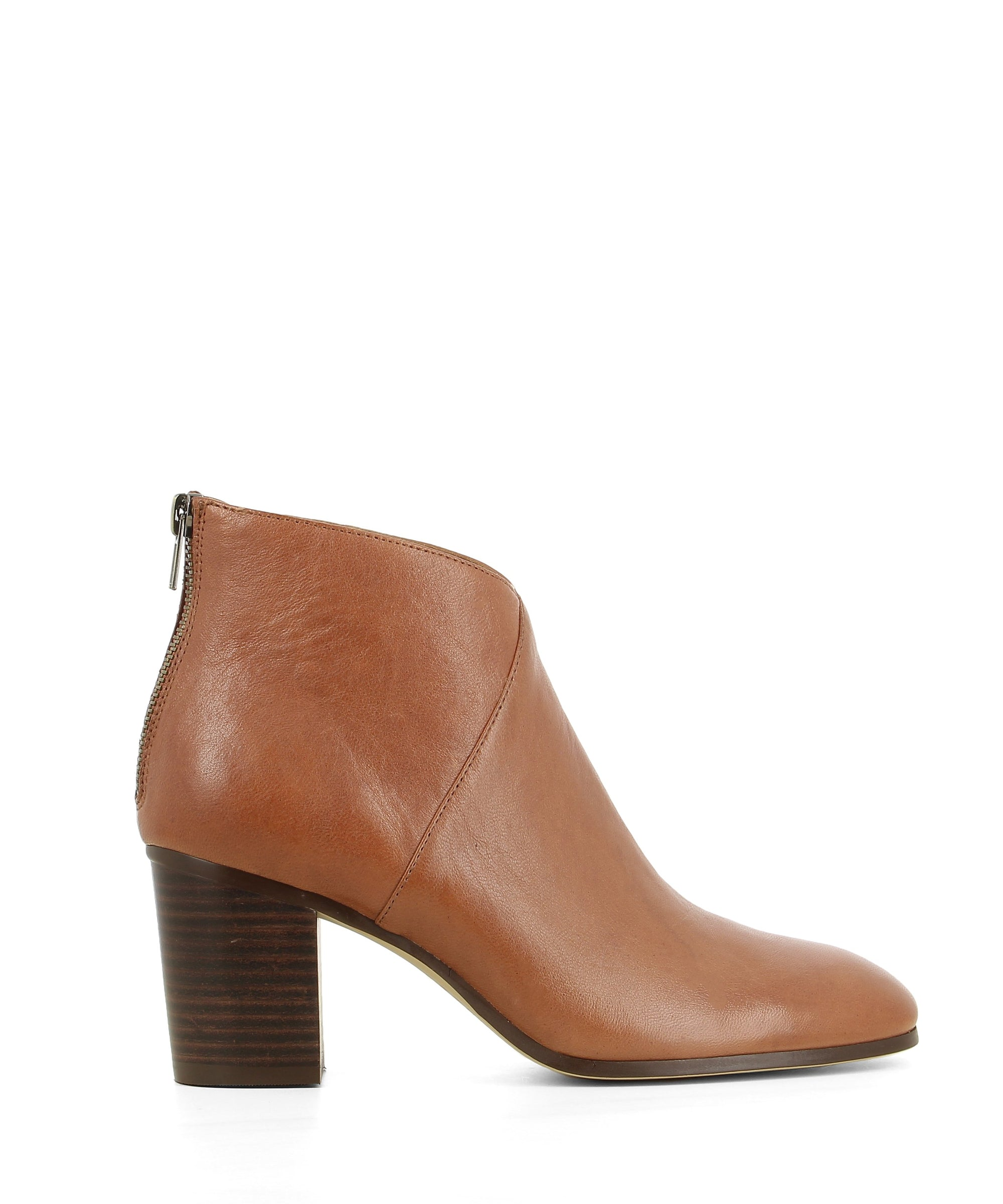 A brown leather ankle boot that has zipper closure on the back of the heel and features a 6.5cm block heel and a soft square toe by Django & Juliette.