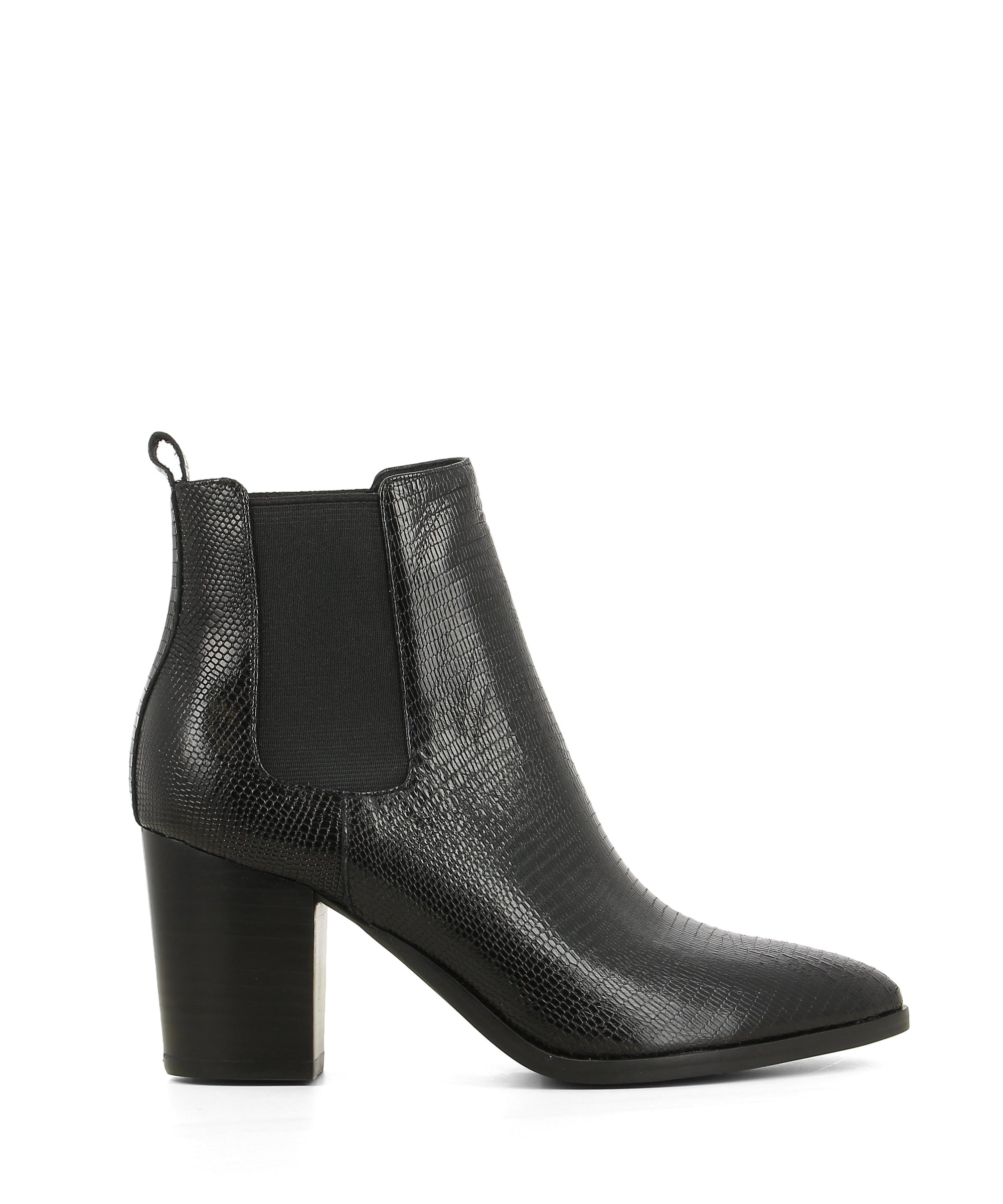 A black leather Chelsea style ankle boot that features elastic gussets, a shiny snake skin print, a 7cm block heel and a pointed toe by Django & Juliette.