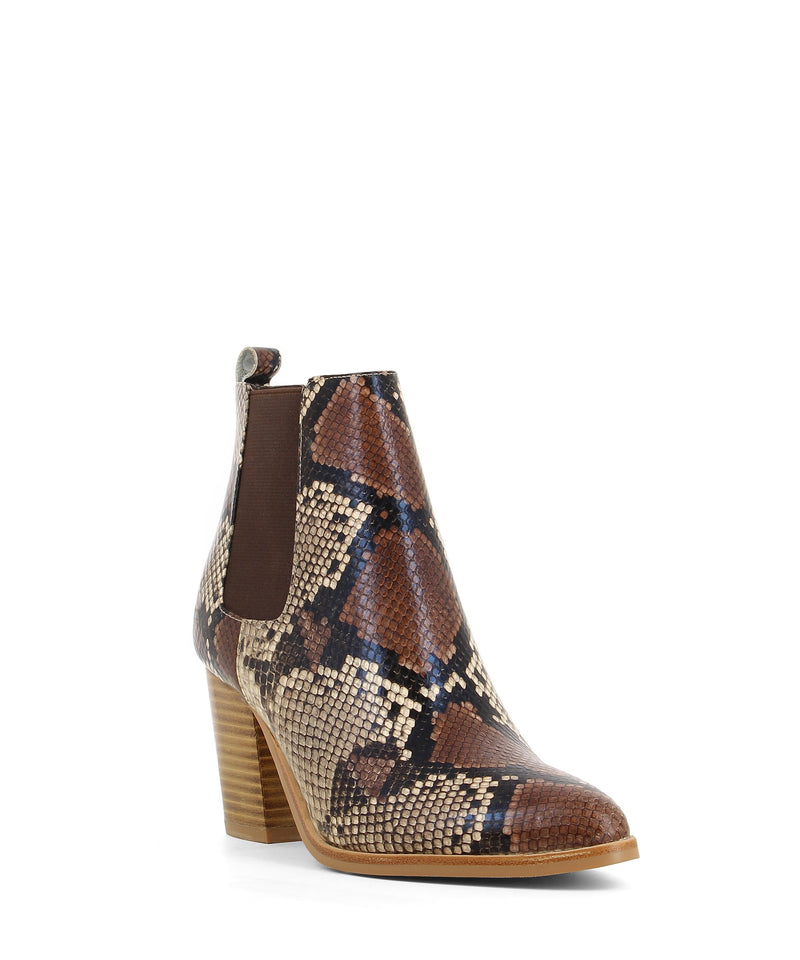 A brown and taupe coloured snake skin leather Chelsea ankle boot that features brown gussets, a 7cm block heel and a soft pointed toe by Django & Juliette.