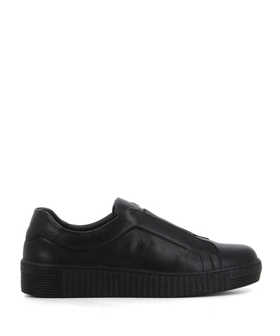 A black leather fashion sneaker that are slip-on style with a lace-free opening and features a reflective elasticated upper and a round toe by Django & Juliette.