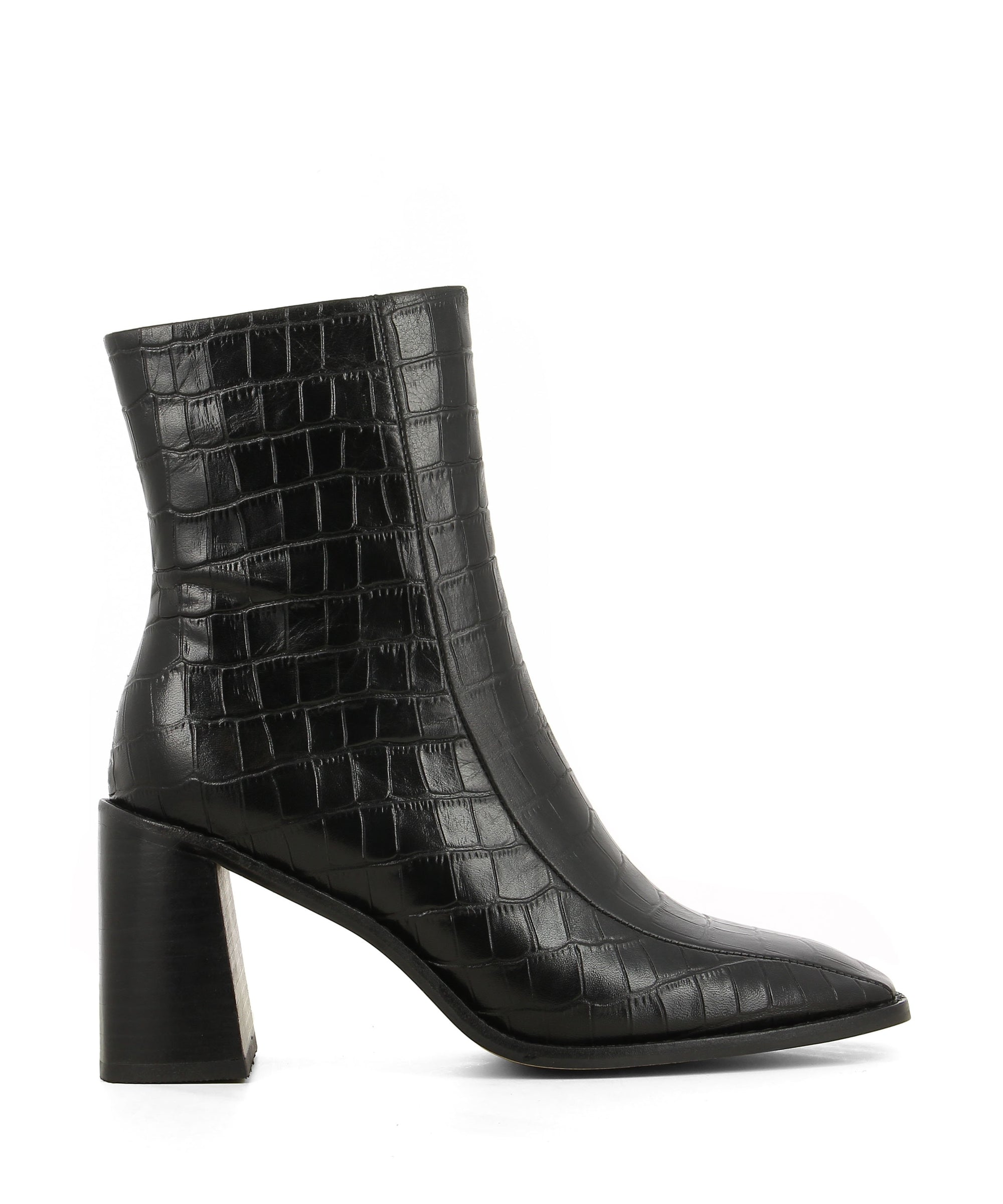 Black croc leather ankle boots that have a zipper fastening and feature a 7.5cm block heel and a square toe by 2 Baia Vista.