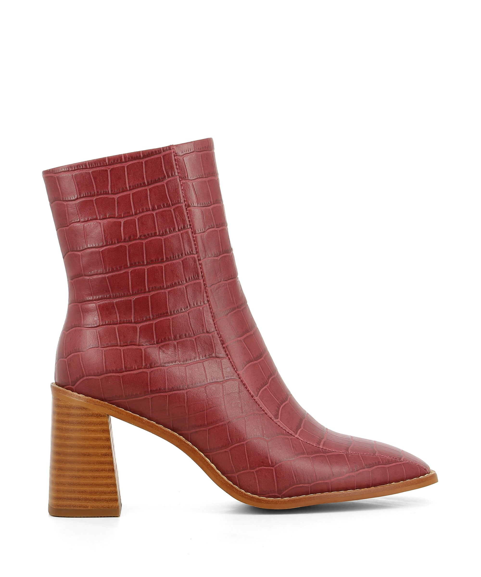 Red Wine Croc leather ankle boots that have a zipper fastening and feature a 7.5cm wooden block heel and a square toe by 2 Baia Vista.