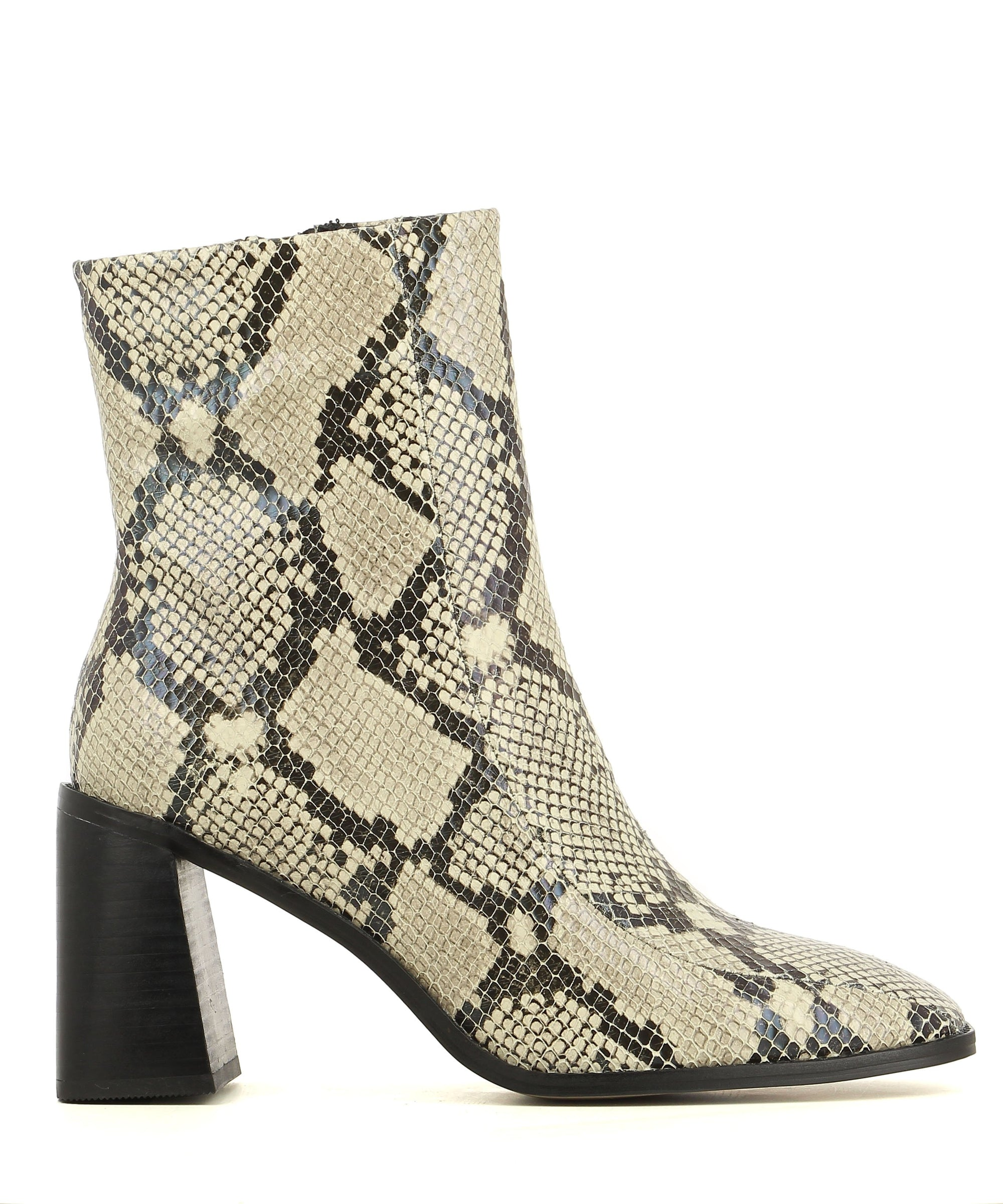 A snake skin printed leather ankle boot with a zipper fastening, 7.5cm block heel and a square toe. This style runs true to size.