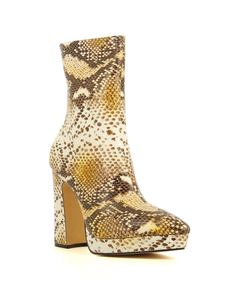 A snake skin print ankle boot with zipper fastening featuring a block heel, platform sole. and a soft pointed toe.