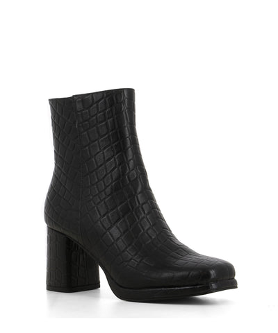 A black croc print ankle boot featuring zipper fastenings, a platform sole, a block heel and a square toe by 2 Baia Vista.