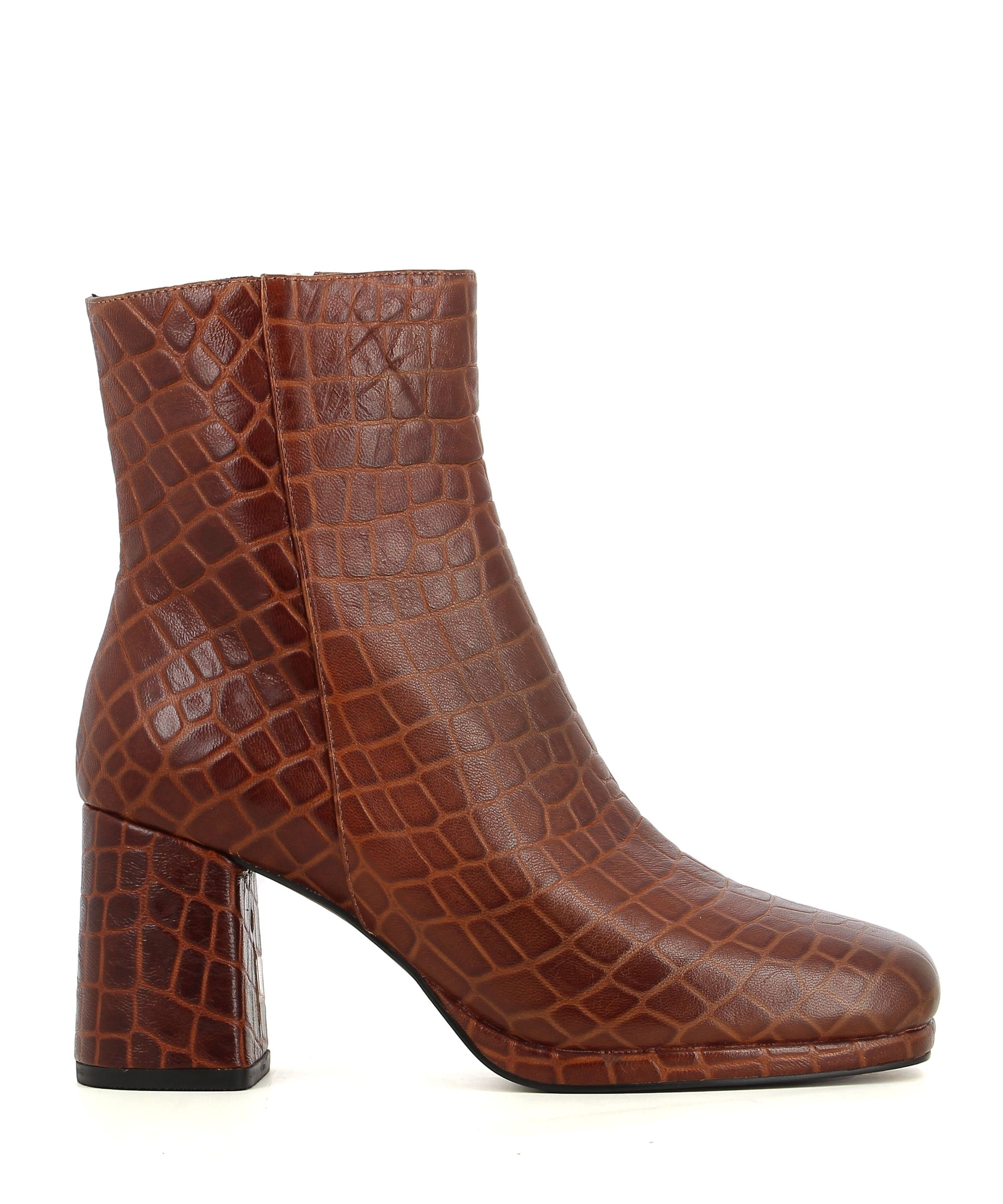 A brown croc print ankle boot featuring zipper fastenings, a platform sole, a block heel and a square toe by 2 Baia Vista.
