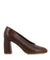 Classic brown lizard print high heels that feature a high 8 cm block heel and a round toe by Zomp.