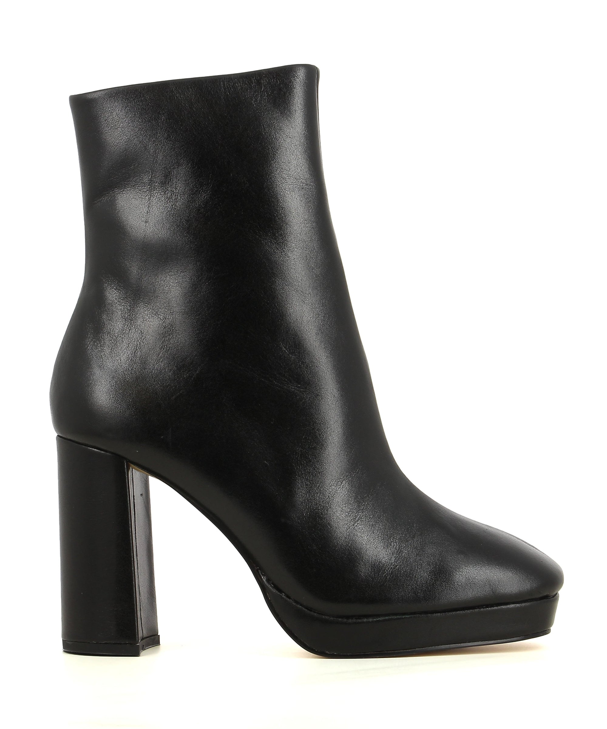 A black leather ankle boot by Zomp. The 'Upside' has a zipper fastening and features a platform sole, block heel and a soft square toe.