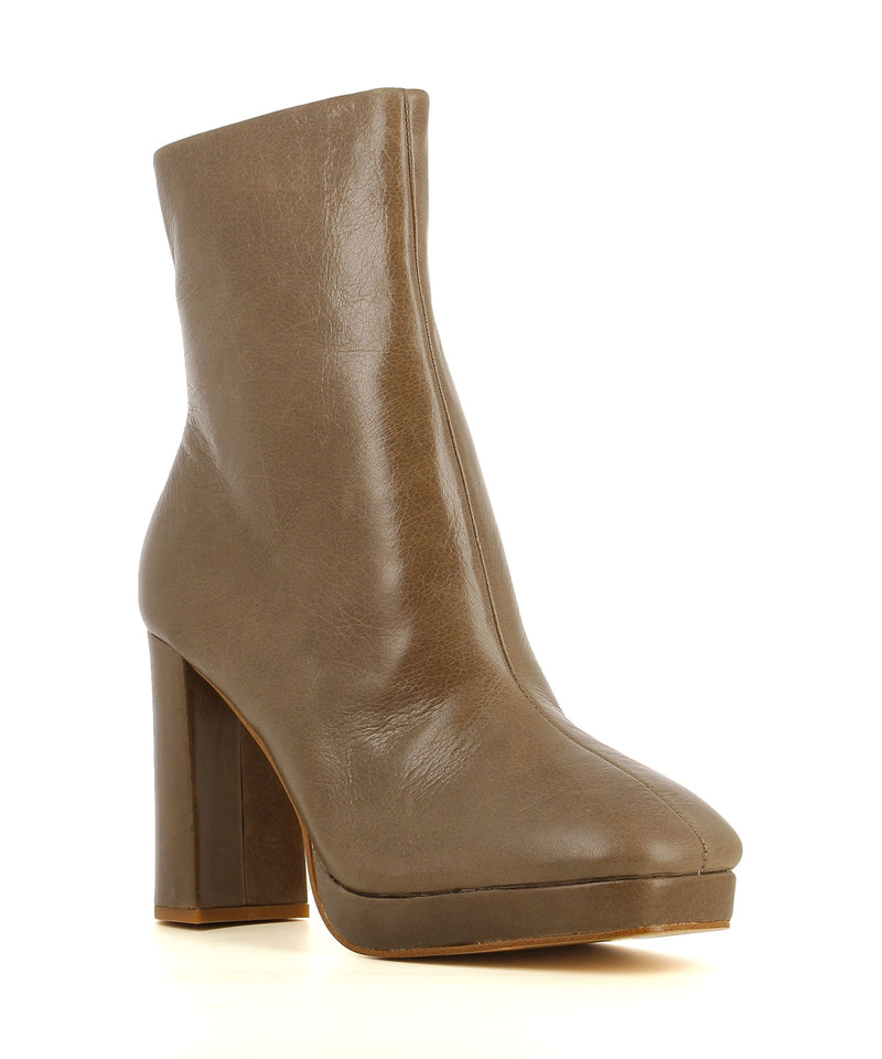 A taupe leather ankle boot by Zomp. The 'Upside' has a zipper fastening and features a platform sole, block heel and a soft square toe.