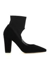 A black suede sock pump by Zomp. The 'Uzette' features a neoprene panel ankle strap, a block heel and a pointed toe.