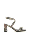 A snake like leather heeled sandal by 2 Baia Vista. The 'Valley' has an ankle strap with a silver buckle fastening, and features a block heel and a square toe.