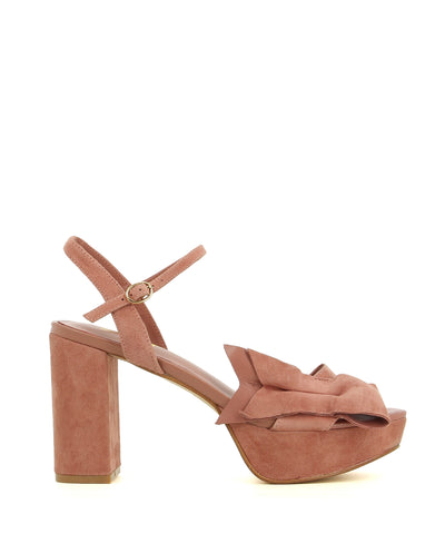 A mushroom suede leather platform by Zomp. The 'Veronique' features an ankle strap with a buckle fastening, a knotted bow upper, a high platform heel and a round toe.