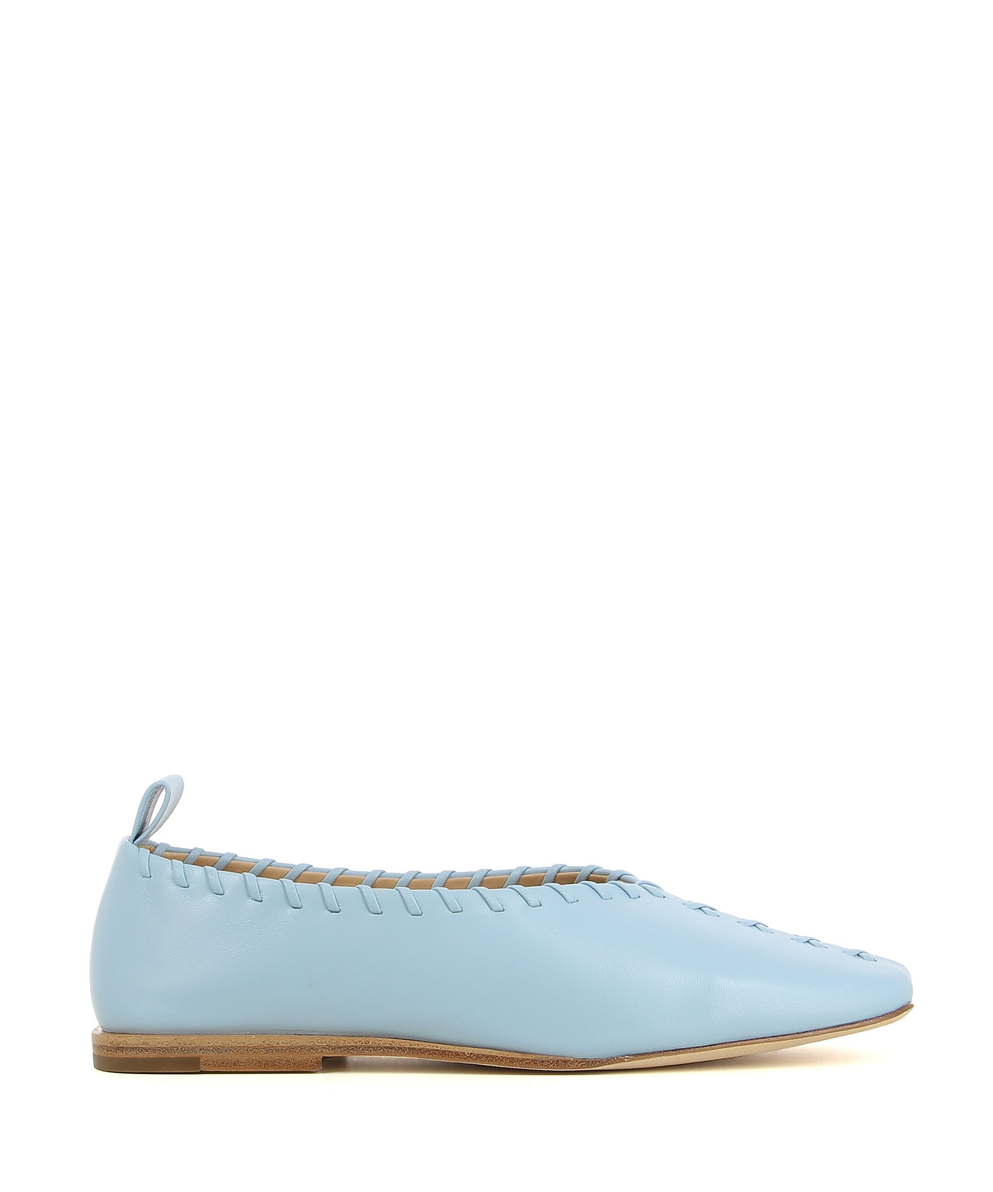 "A baby blue leather slip on ballet flat by 2 Baia Vista. The ""Videl"" features a stitched upper, and a square toe."