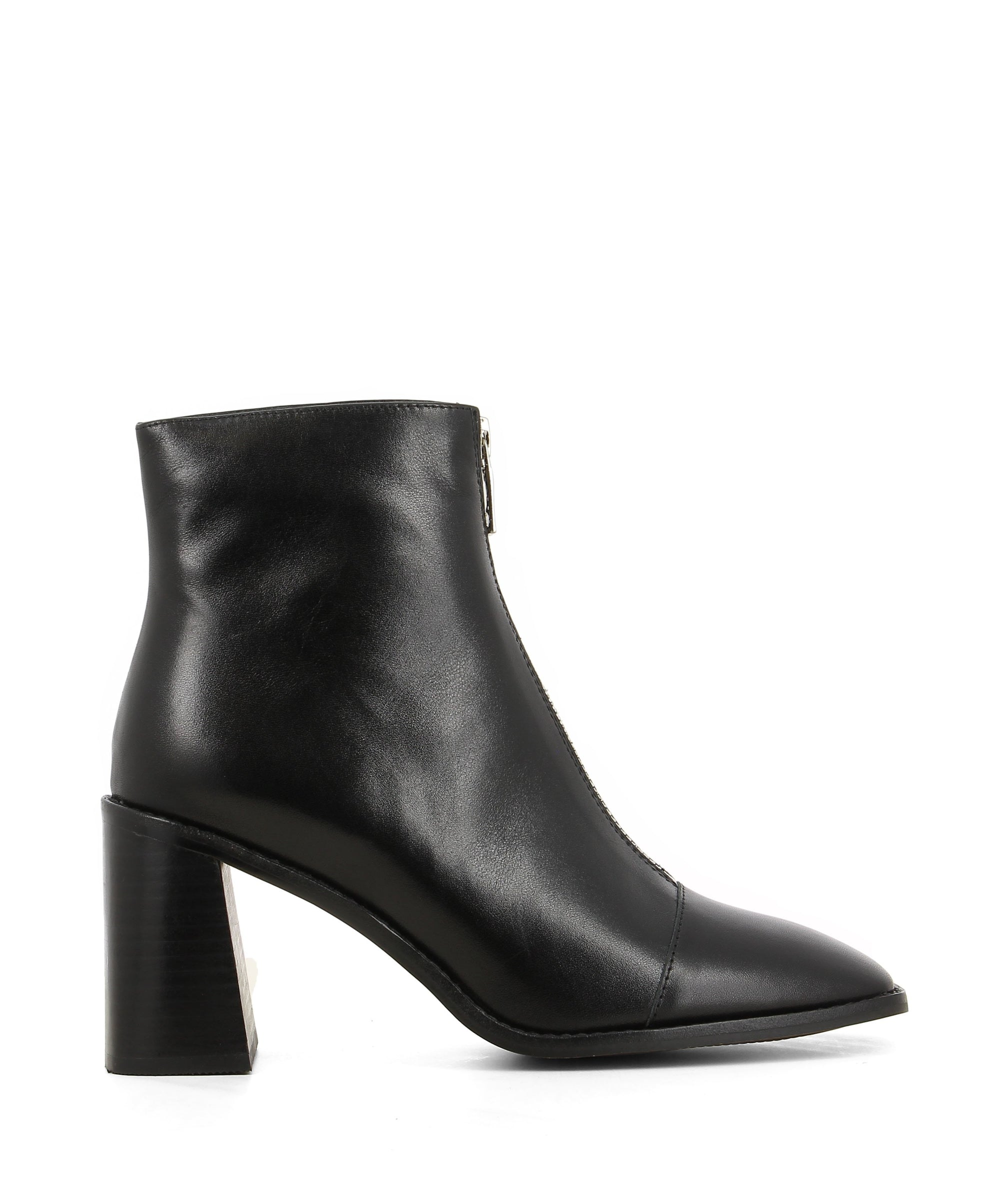 Stylish black leather ankle boots that have a front zipper fastening and feature a 7.5cm tall block heel, a silver front zipper fastening and a square toe by 2 Baia Vista.