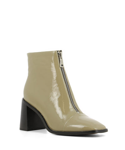 Stylish khaki green patent leather ankle boots that have a front zipper fastening and feature a 7.5cm tall block heel, a silver front zipper fastening and a square toe by 2 Baia Vista.