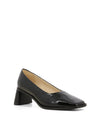 Black patent leather heels featuring a flared block heel and a square toe by 2 Baia Vista.