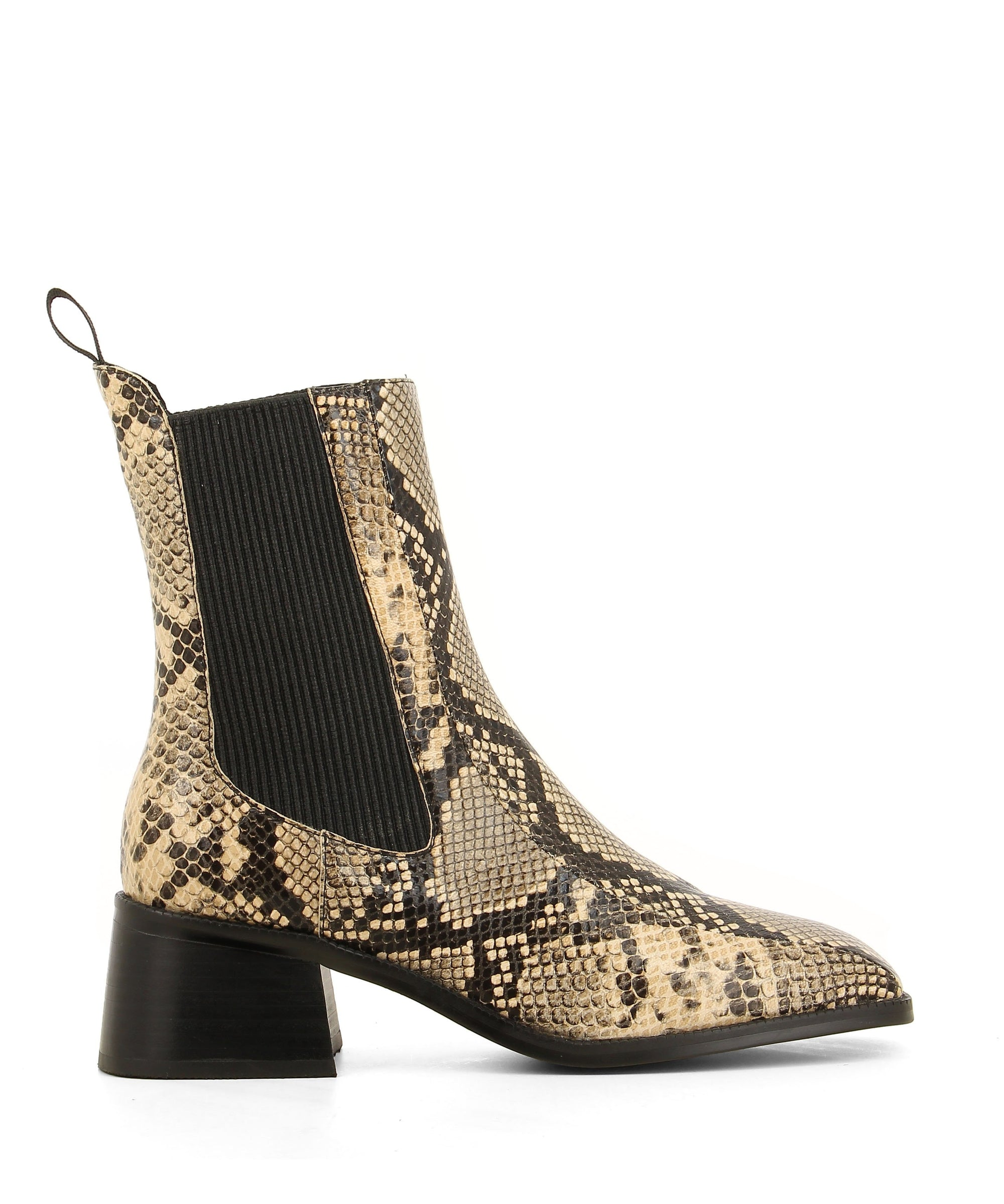 Classic natural snake print leather Chelsea boots that are a pull on style featuring elastic side gussets, a 5cm block heel and a square toe by 2 Baia Vista.