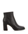 Black leather ankle boots featuring zipper fastenings, a wave block heel and a square toe by 2 Baia Vista.