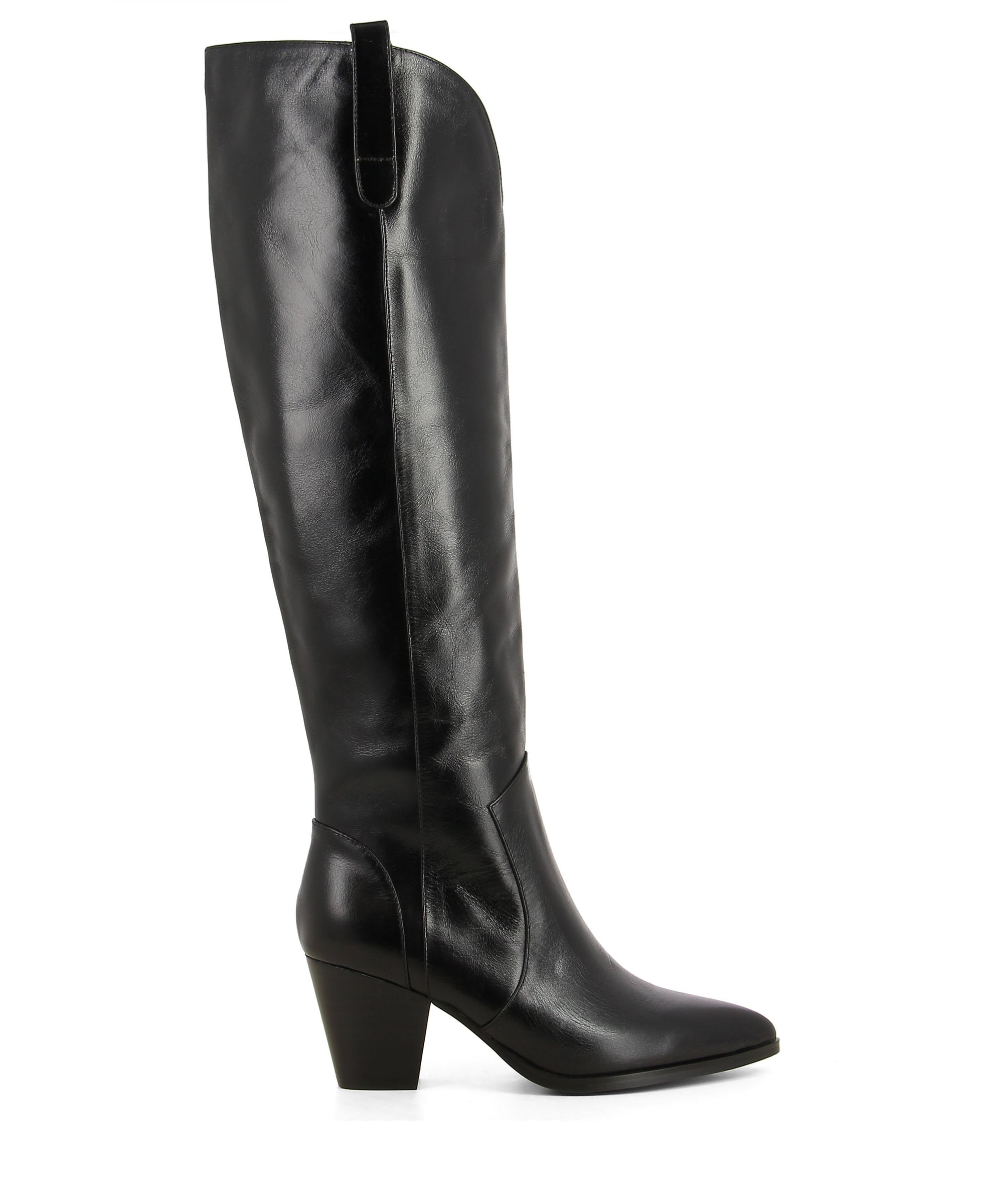 Black western style knee high boots featuring a side zipper fastening, a v shaped leg opening, a tapered block heel and a pointed toe by 2 Baia Vista.