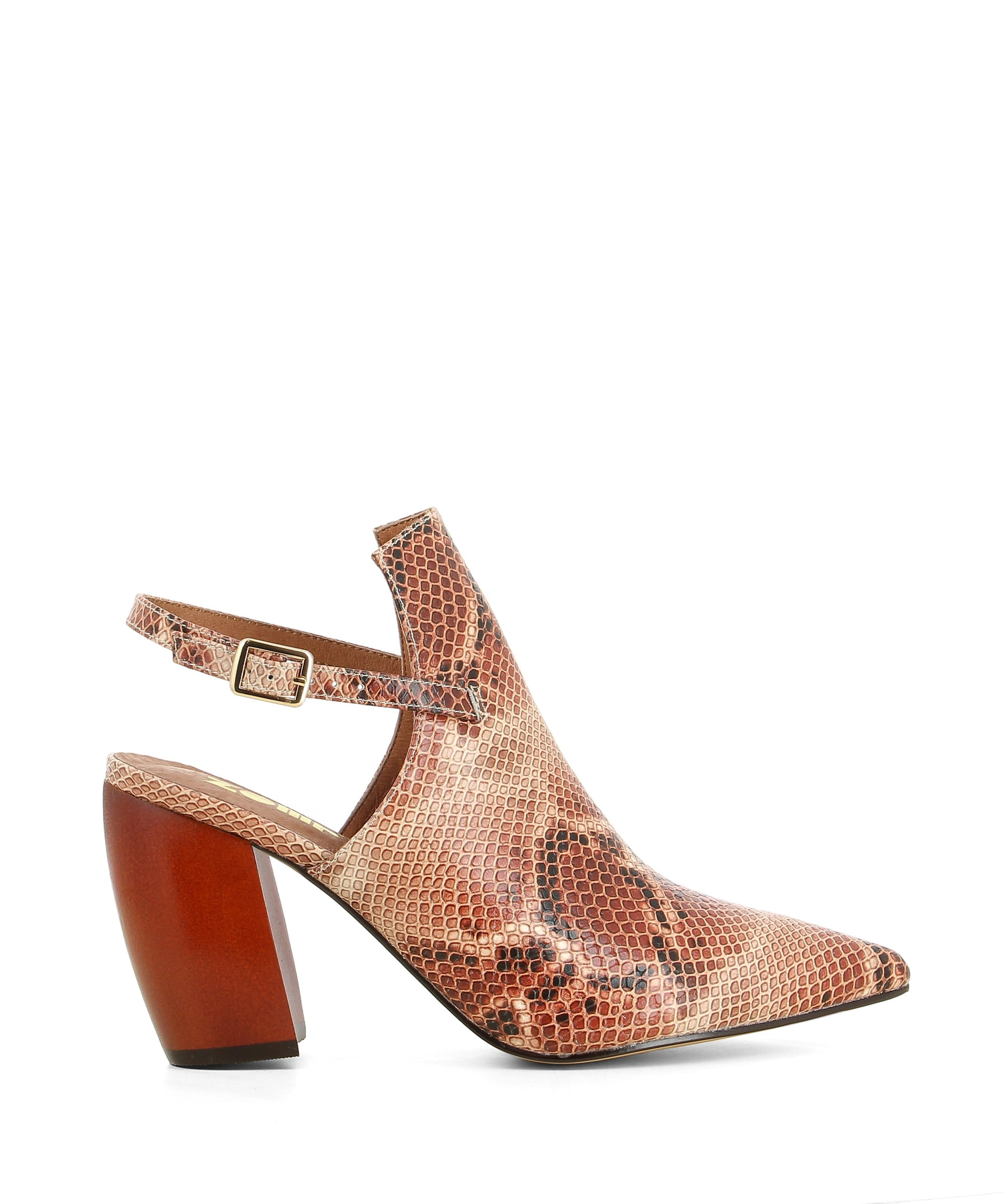 Tonal red snakeskin printed leather slingback heels that have a thin slingback strap with buckle fastening and features a snakeskin textured upper, a 8.5 cm red block banana heel and a closed in pointed toe by Zomp.