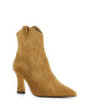 Tan suede leather Western-style ankle boots that have a zipper fastening at the back and features a stitched Western design, an hourglass-shaped heel and a pointed toe by Zomp.
