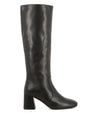 Classic black leather knee-high boots that have a inner zipper fastening and feature a mid-height 5.5cm block heel and a soft square toe by 2 Baia Vista.