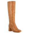 Tan leather knee-high boots that have a inner zipper fastening and feature an embossed croc skin texture to the upper, a mid-height 5.5cm block heel and a soft square toe by 2 Baia Vista.