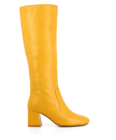 Marigold leather knee-high boots that have a inner zipper fastening and feature a mid-height 5.5cm block heel and a soft square toe by 2 Baia Vista.