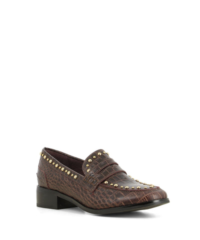 Contemporary brown leather loafers by that have an embossed croc skin texture to the upper, gold stud detailing, a 3cm block heel and a round toe by 2 Baia Vista.
