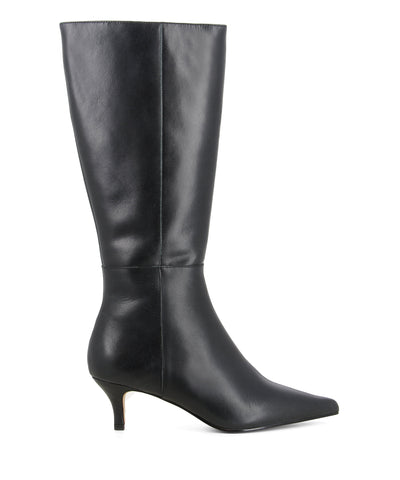 Classic black leather knee-high boots that have inner zipper fastening and feature a short kitten heel and a pointed toe by Zomp.