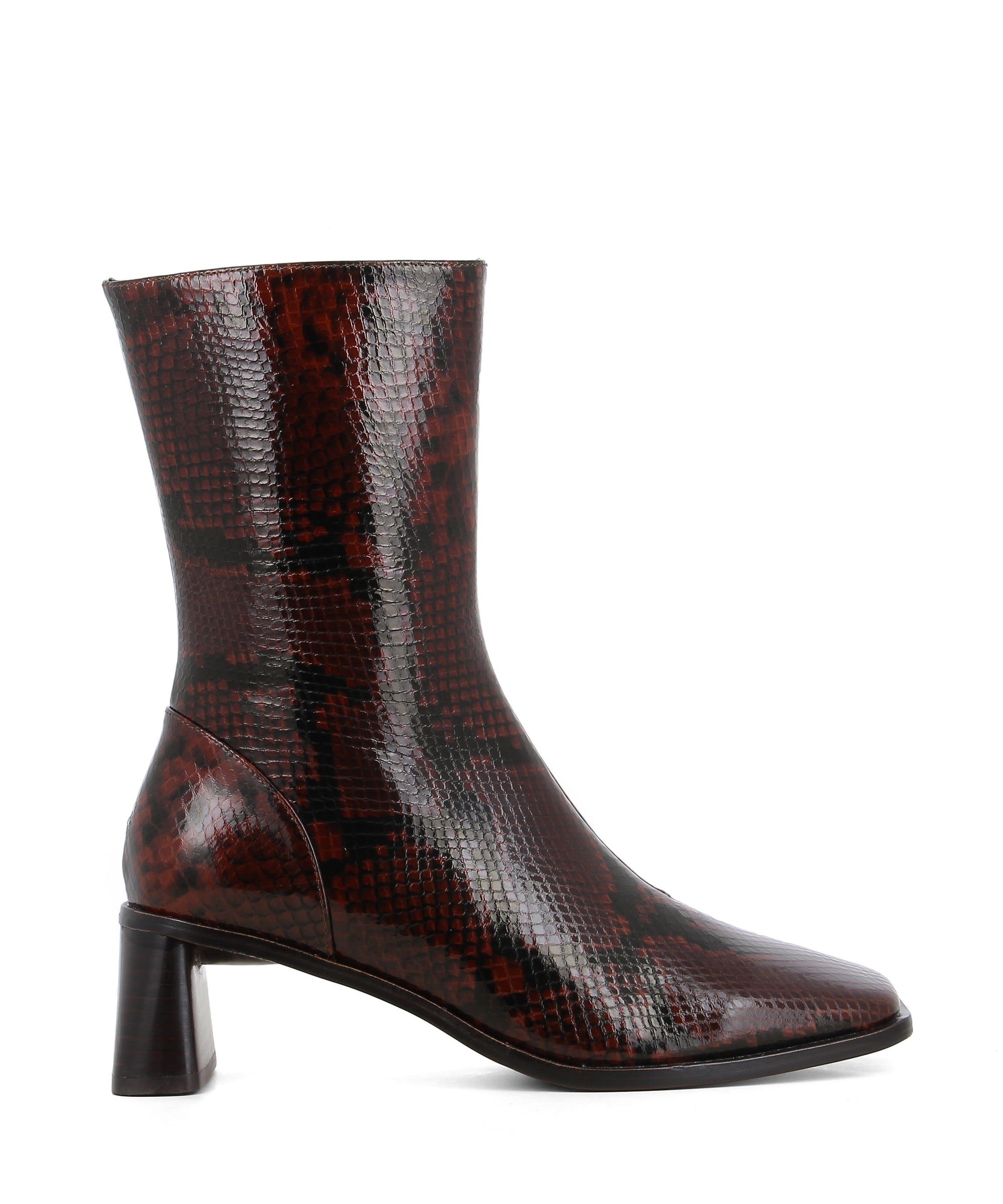 Sleek brown patent snakeskin calf length boots featuring zipper fastenings seam detailing on the upper, a flared block heel and a square toe by 2 Baia Vista.