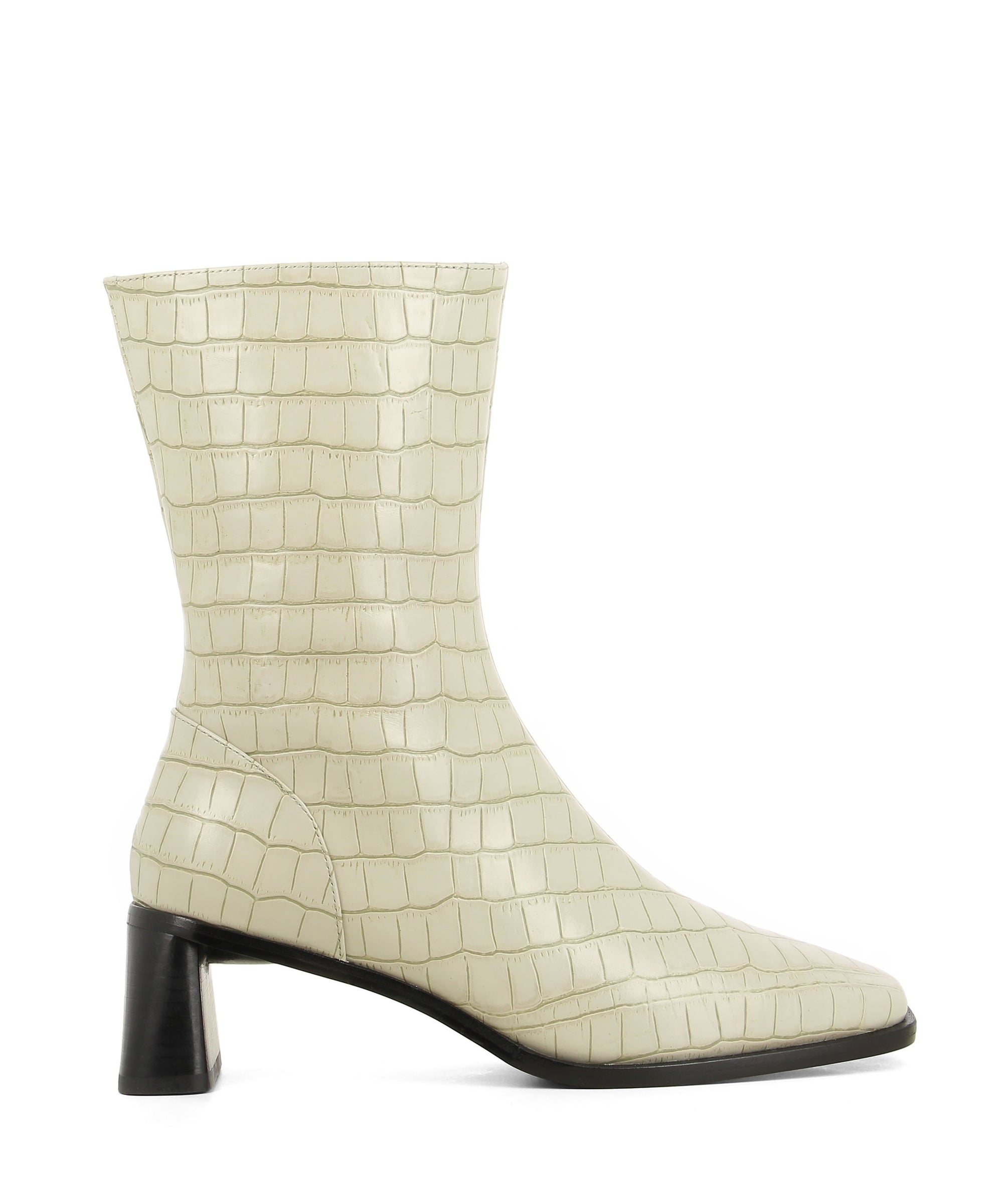 Sleek cream croc ankle boots featuring zipper fastenings seam detailing on the upper, a flared block heel and a square toe by 2 Baia Vista.