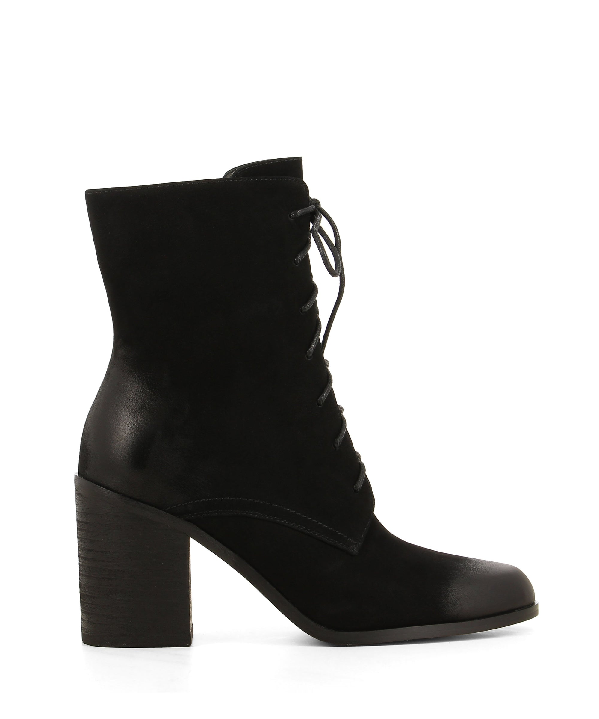 Black nubuck heeled ankle boots featuring lace up fastenings, a wooden block heel and polished almond toe by 2 Baia Vista.